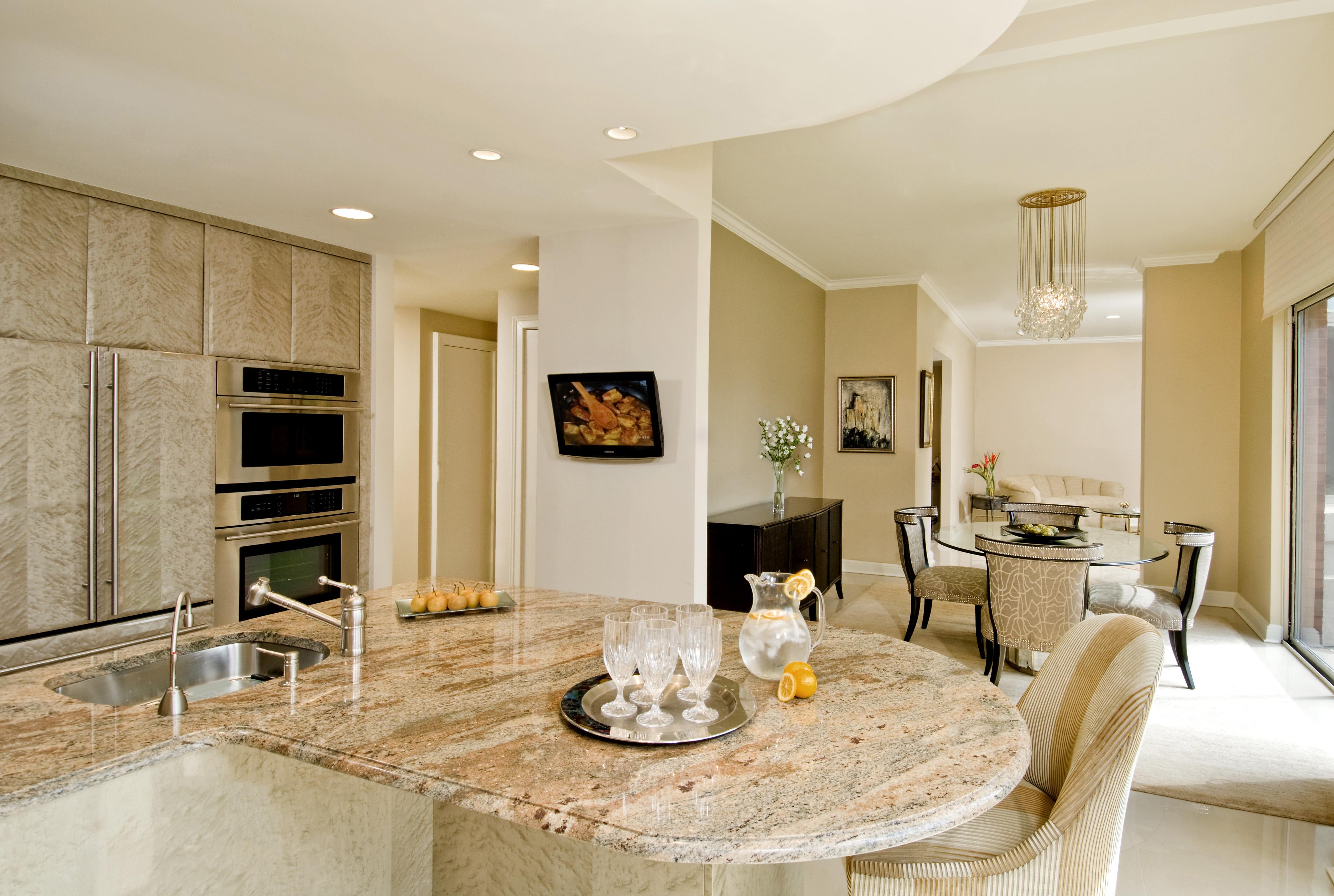 Bright luxurious kitchen island