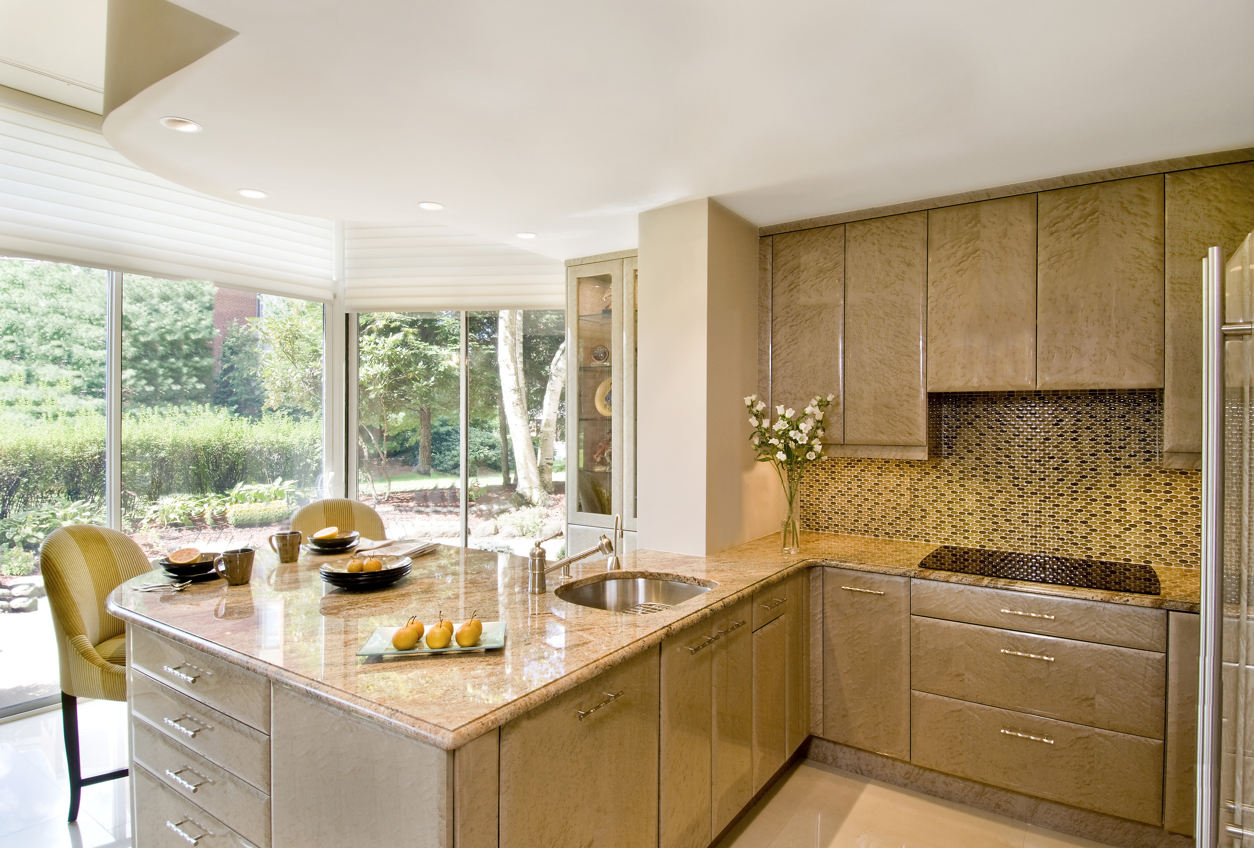 Bright luxurious kitchen counters and cabinets