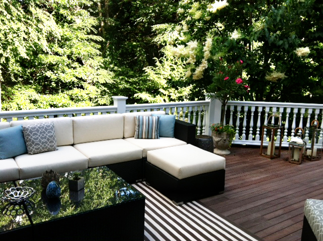 Spacious deck space with wooded back yard