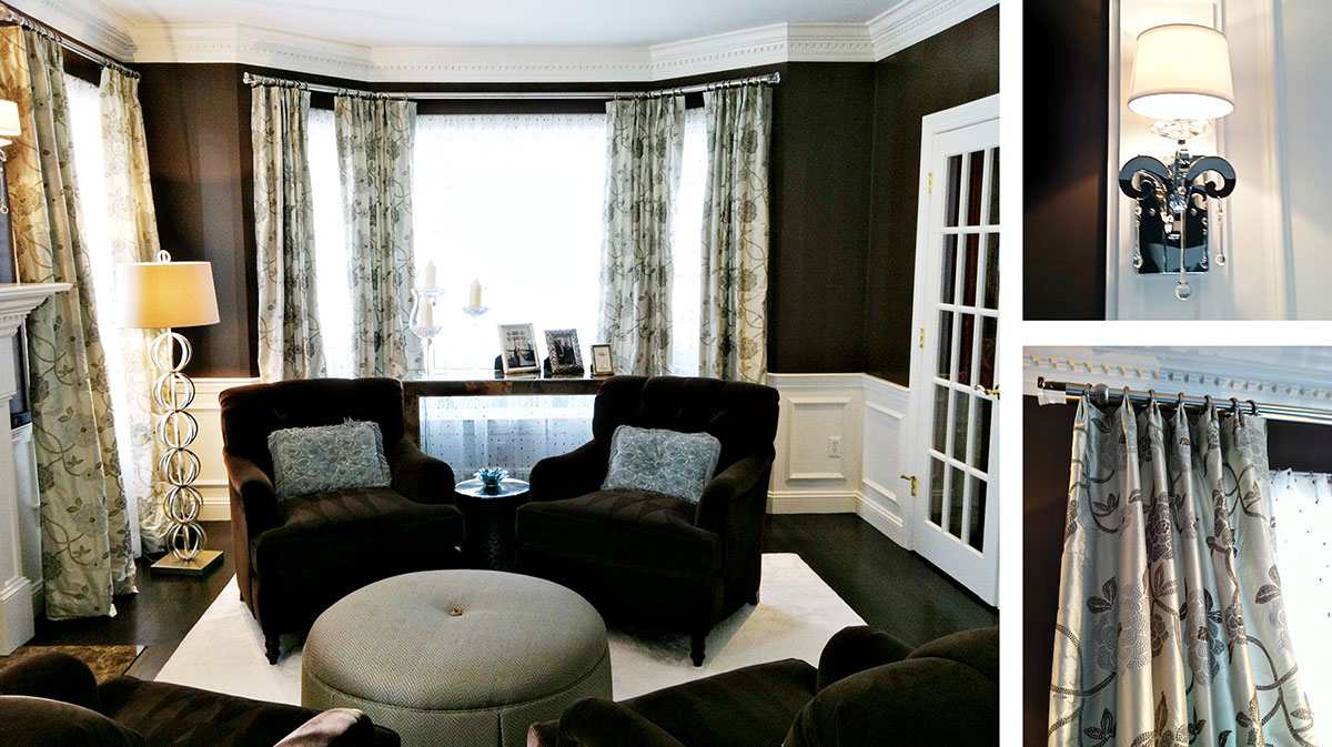 Luxe living room with sconces and drapery details