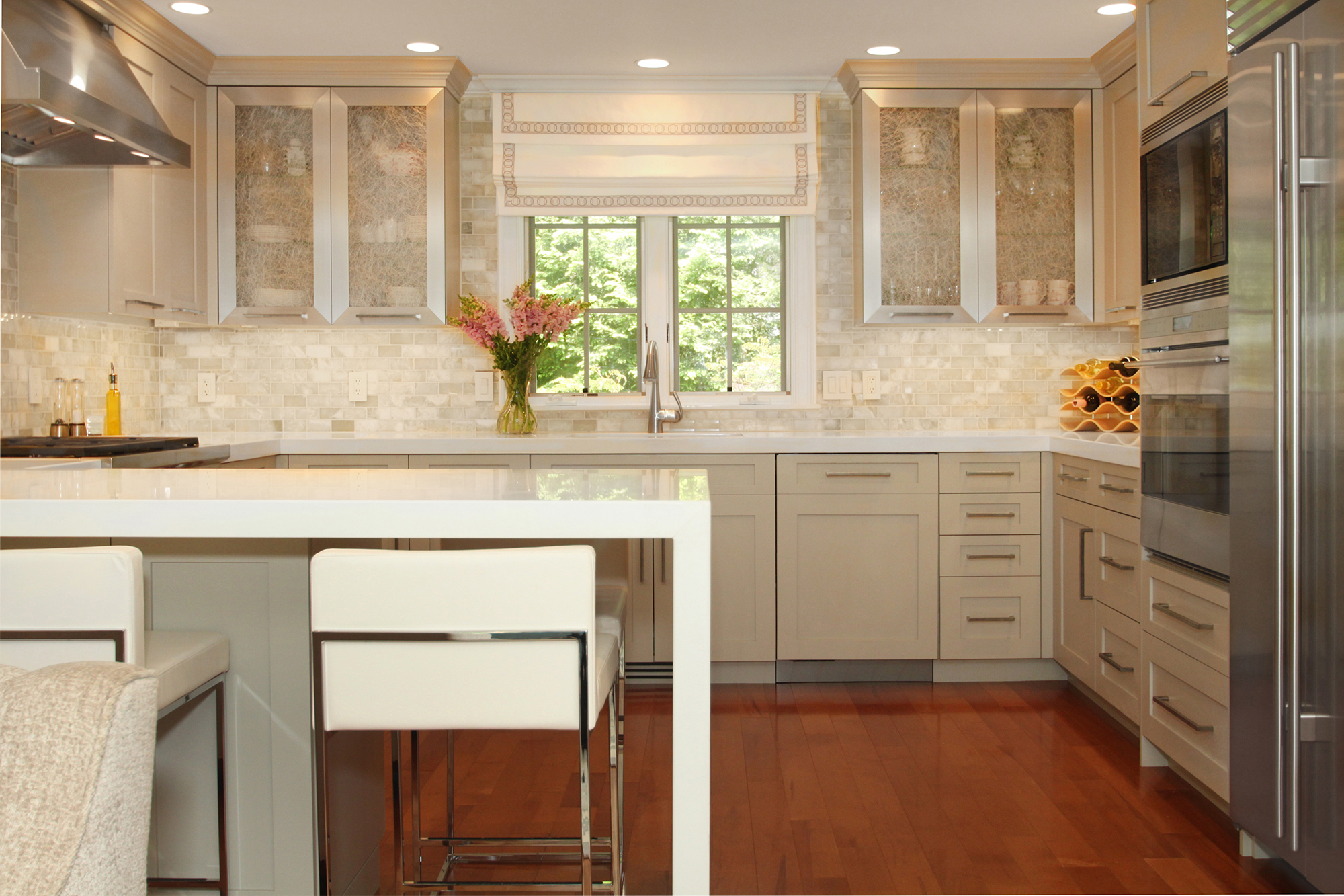 Luxurious kitchen with high-end appliances and custom built cabinets