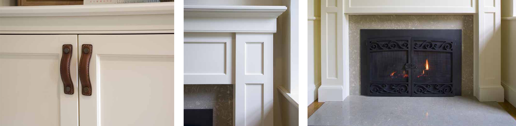 Details of leather cabinet, fireplace mantel and fireplace doors