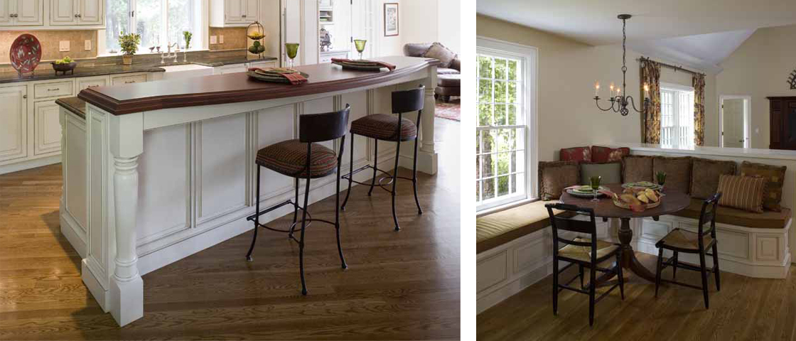 Traditional kitchen island and seating details
