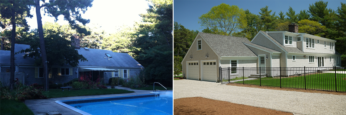 Before after cape cod renovation for Cape cod house renovation